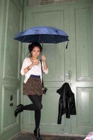 rainbow sweater - forever 21 skirt - H&M shirt - flea market belt - H&M stocking