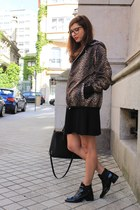 tawny Maje coat - black Zara boots - black Zara dress