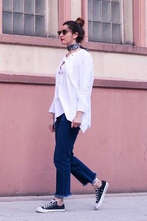 white Uterque shirt - navy Zara jeans - aquamarine asos scarf