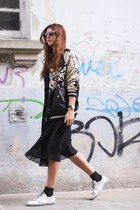 black Zara jacket - white Golden Goose sneakers