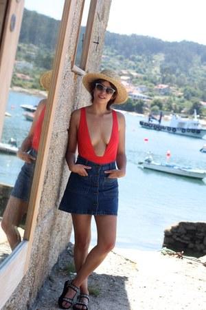 red asos swimwear - nude H&M hat - blue Zara skirt