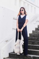 white Becksondergaard bag - navy Zara jumper - black Aldo necklace
