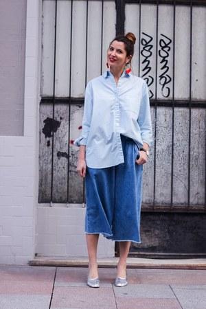 silver Uterque shoes - light blue Mango shirt - sky blue Zara pants