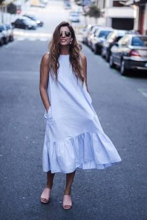 light blue Zara dress - light pink Bimba & Lola sandals