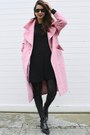 Black-zara-dress-bubble-gum-asos-coat-black-mango-pants