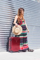 green desigual dress - neutral H&M hat - black Lince Shoes sandals