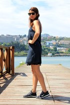 navy Zara dress - black nike sneakers