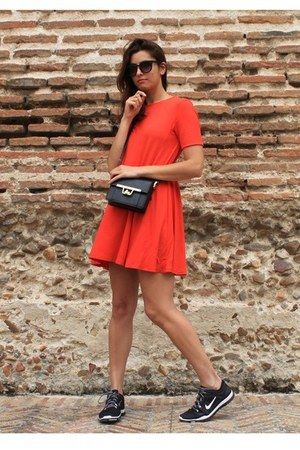 red Zara dress - black nike sneakers