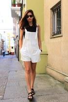 white Zara bodysuit - black Zara sandals
