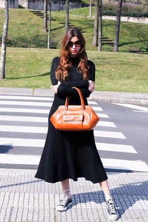 black Zara dress - orange Uterque bag - black Converse sneakers