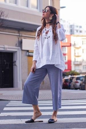white Uterque shirt - navy Zara pants