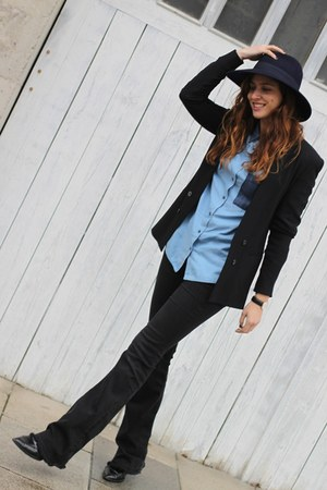 blue nice things hat - black Zara jeans - black Zara blazer