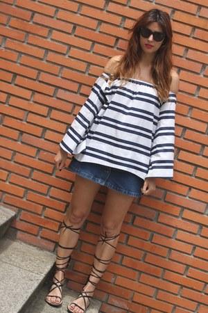 blue Uterque top - blue Zara skirt - black Zara sandals