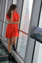 black Zara boots - red Zara dress - red alain afflelou glasses