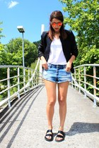 black Zara jacket - blue pull&bear shorts