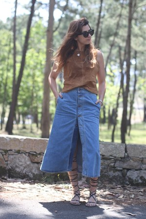 sky blue denim Zara skirt - black Celine sunglasses - bronze suede Zara top