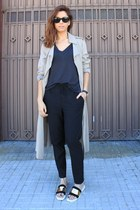 ivory Zara coat - black Zara pants - black Zara sandals