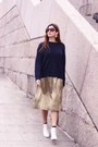 White-uterque-boots-gold-zara-skirt