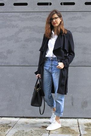 black H&M coat - sky blue Zara jeans - white Adidas Stam Smith sneakers