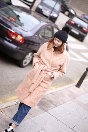 peach Ganni coat - black Adidas sneakers