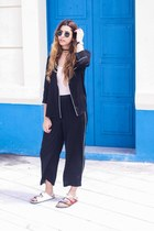 black Zara shirt - black Bershka pants - red Isabel Marant sandals