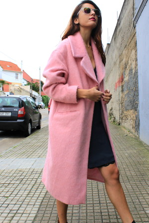 pink asos coat - navy Zara dress