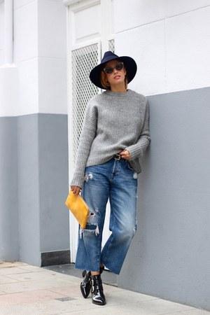 sky blue Zara jeans - black Bimba & Lola boots - silver Zara sweater