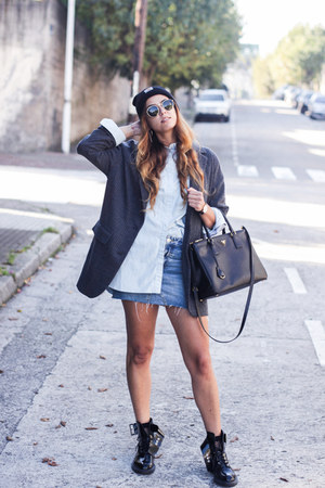 gray Zara blazer - black Carhartt hat - black Prada bag - sky blue Zara skirt