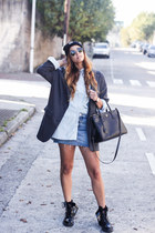 gray Zara blazer - black Carhartt hat - black Prada bag - sky blue Zara skirt