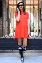 red Zara dress - navy Zara socks
