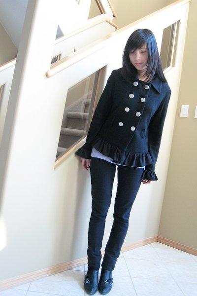 black Mac & Jac jacket - purple top - black jeans - black shoes