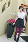 White-t-shirt-black-skirt-red-tights-black-shoes