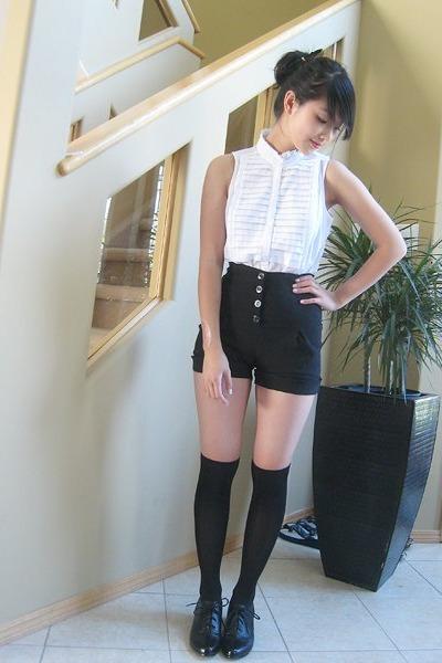 White Attitude Tops, Black Shorts, Black Joe Fresh Style Socks ...