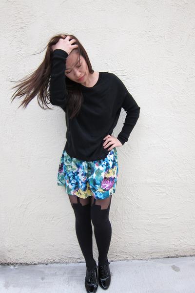 black New York and Company sweater - blue Forever 21 skirt - black Henry Holland