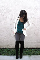 teal ruffled Forever 21 top - black over the knee Steve Madden boots