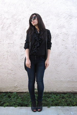 black obey dress - blue jegging citizens of humanity jeans - black dior sunglass