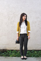 mustard Forever 21 cardigan - white H&M blouse - dark gray American Apparel jean