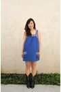 Blue-forever-21-dress-black-thrifted-boots-silver-tiffany-and-co-necklace
