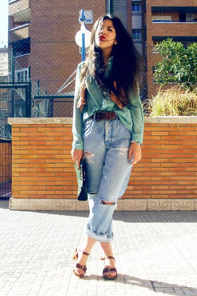 periwinkle vintage Valentino jeans - aquamarine sheer Primark blouse