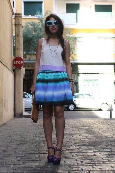 tie dye H&M skirt - H&M glasses - sheer Primark top - Primark heels