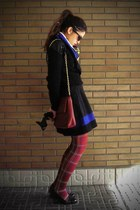 black H&M skirt - ruby red H&M tights - blue vintage scarf