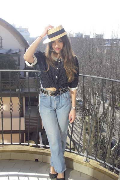 light blue Levis jeans - camel rafia Zara hat - navy vintage blouse - black leat