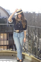 light blue Levis jeans - camel rafia Zara hat - navy vintage blouse - black leat