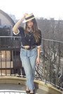Light-blue-levis-jeans-camel-rafia-zara-hat-navy-vintage-blouse-black-leat