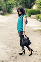 black Newlook heels - grey Topshop jeans - black christian dior bag