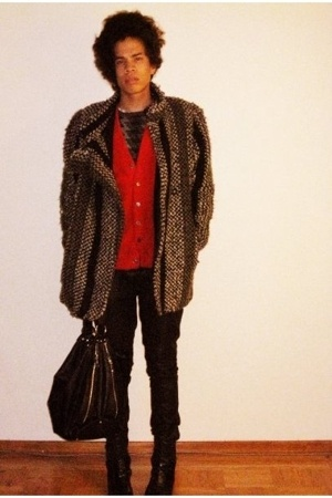 thrift sweater - Helmut Lang sweater - Alexander McQueen coat - Black Milk jeans