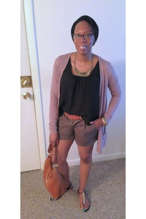 dark khaki thrifted shorts - black top - light pink cardigan