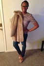 Vintage-fur-royal-minke-coat-light-pink-jeans-beige-heels