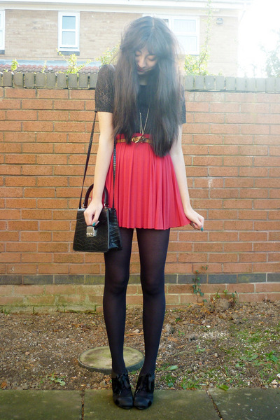 DIY skirt - new look shoes - vintage bag - vintage top - H&M necklace