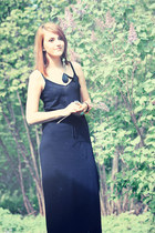 black maxi dress H&M dress - black feather GINA TRICOT earrings
